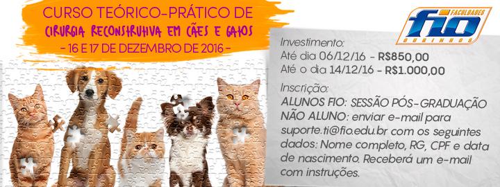 CURSO TEÓRICO PRÁTICO - CIRURGIA RECONSTRUTIVA EM CÃES E GATOS